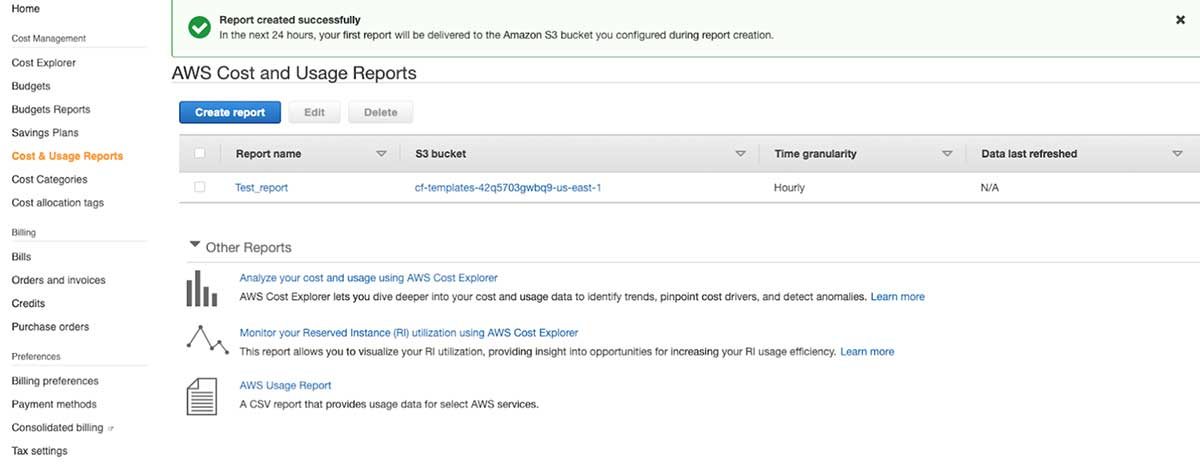You can enable the Cost and Usage Report (CUR) in the AWS console and select an S3 bucket to host it.