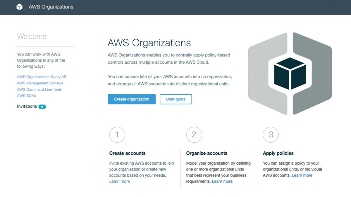 You can set up AWS Organizations by accessing its setup screen from the AWS console.